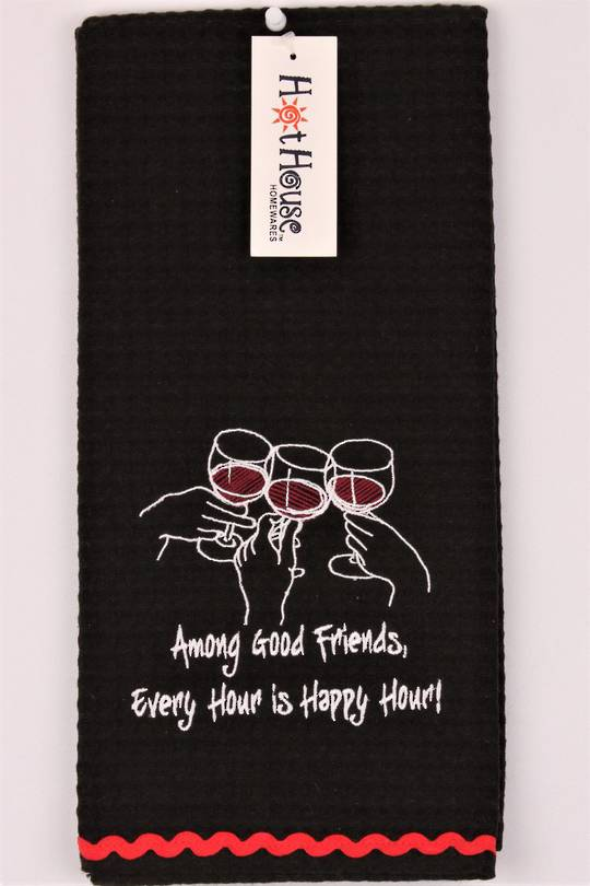 "Novelty ""Among good friends, every hour is Happy Hour"" tea towel Code:T/T-GF/WIN/HAP (NEXT DELIVERY MARCH 2021)"