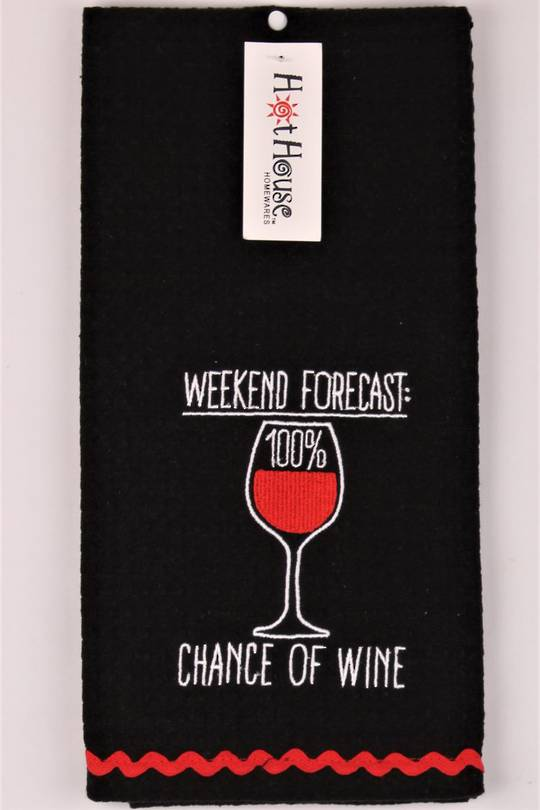 "Novelty 'Weekend forecast: 100% chance of wine"" tea towel Code:T/T-GF/WIN/FOR. (NEXT DELIVERY MARCH 2021)"