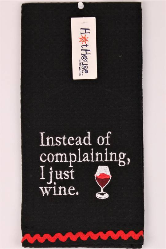 "Novelty 'Instead of complaining, I just wine"" tea towel Code:T/T-GF/WIN/COM."