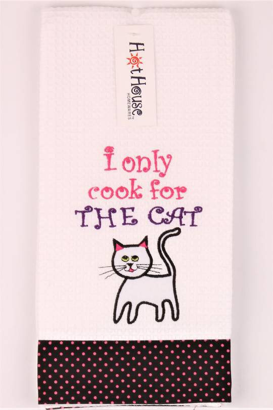 "Novelty ""I only cook for the cat"" tea towel Code:T/T-GF/CAT"