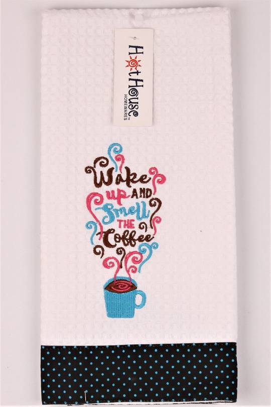 "Novelty ""Wake up and smell the coffee"" tea towel Code:T/T-GF/WAKE."