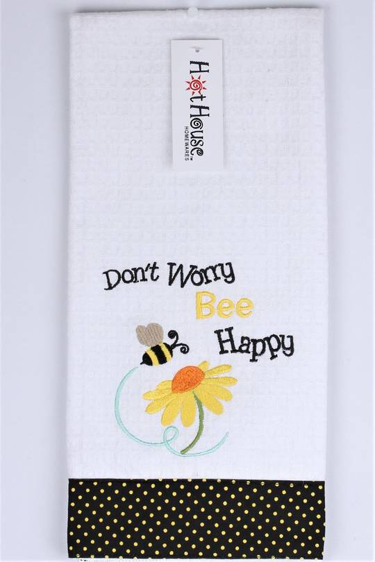 "Novelty ""Don't worry, BEE happy"" tea towel Code:T/T-GF/BEE. (NEXT DELIVERY APRIL 2021)"