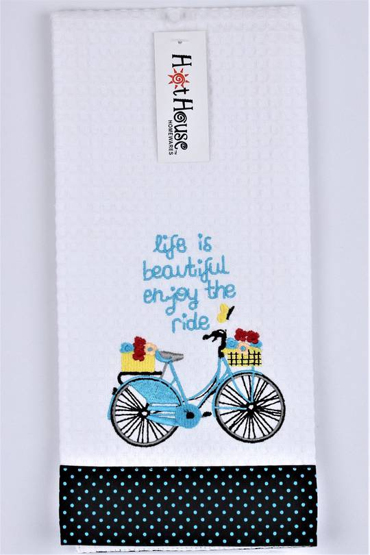"Novelty 'Enjoy the ride"" tea towel Code:T/T-GF/RIDE. (NEXT DELIVERY APRIL 2021)"