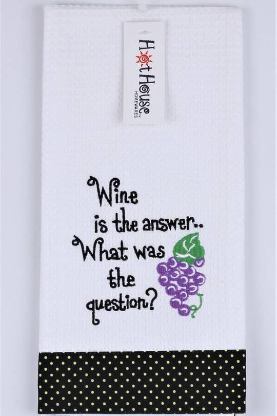 "Novelty ""Wine is the answer... What was the question"" tea towel Code:T/T-GF/WIN/QUE. (NEXT DELIVERY APRIL 2021)"