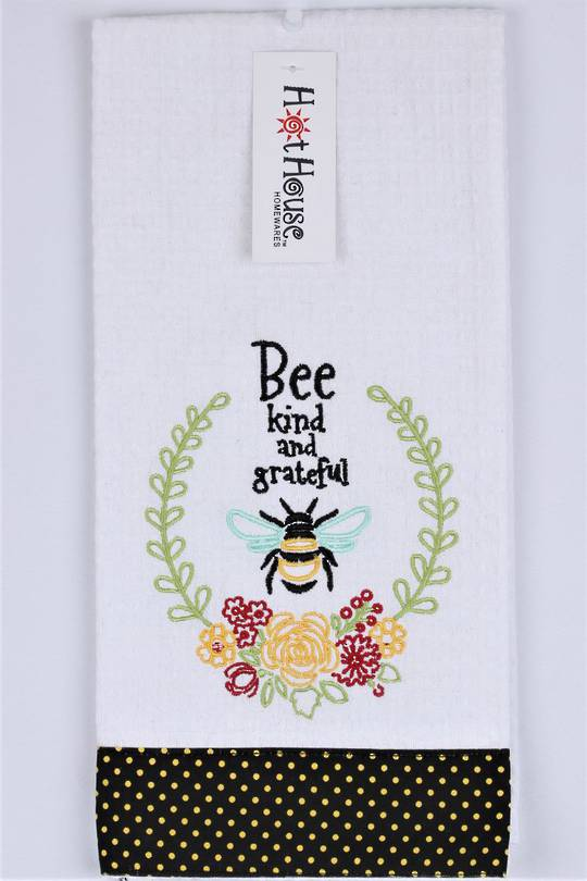 "Novelty ""Bee kind and greatful "" tea towel Code:T/T-GF/KIND. (NEXT DELIVERY APRIL 2021)"