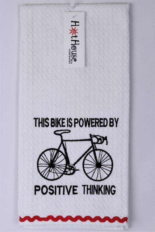 "Novelty 'This bike is powered by positive thinking"" tea towel Code:T/T-GF/POS. (NEXT DELIVERY MARCH 2021)"