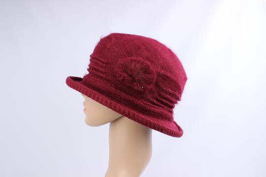 Headstart angora brimmed  cloche w fur flower red  Style : HS/4755RED