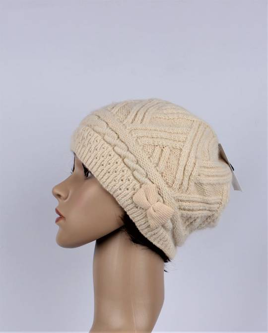 Headstart  cashmere fleece lined cable stitch beret cream Style : HS/4753CRM