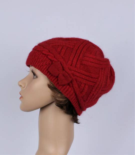 Headstart  cashmere fleece lined cable stitch beret red Style : HS/4753RED