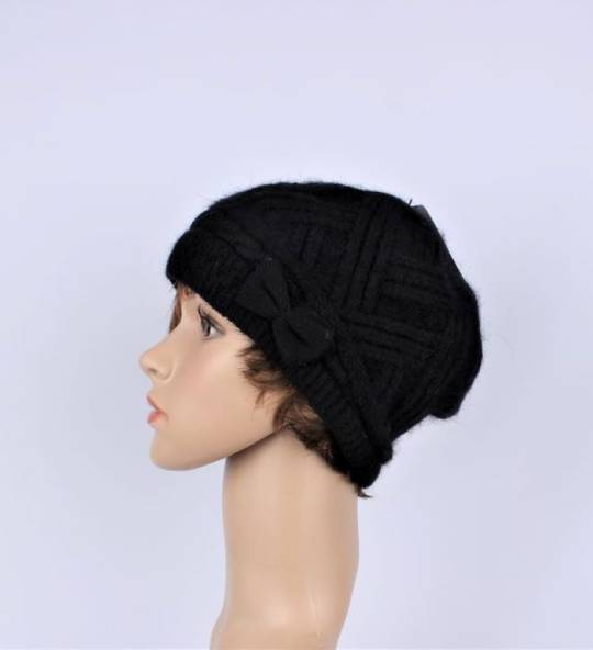 Headstart  cashmere fleece lined cable stitch beret black Style : HS/4753BLK