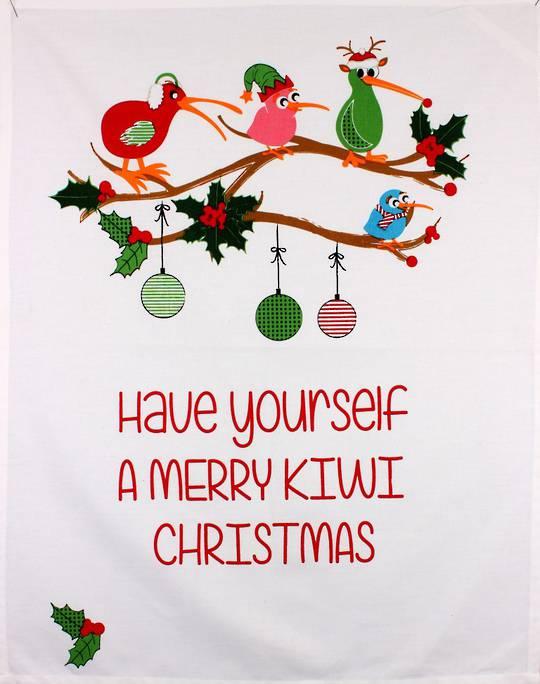 Tea towel Christmas 'Have yourself a merry Kiwi Christmas' Code: TT-CH/MER