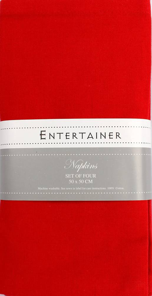"""Entertainer"" napkins 50x50cm set of four red. Code: NAP-ENT/SET/RED."