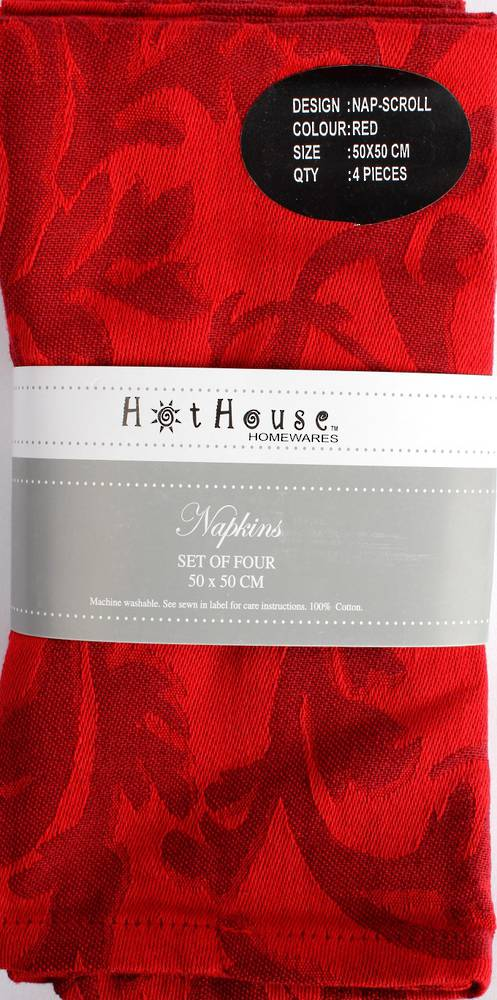 Scroll jacquard  napkins set of 4 red (50X50cm) Code:NAP-SCR/RED