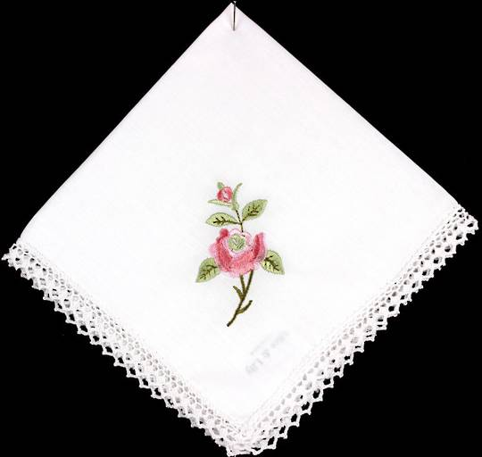 Embroidered lace handkerchiefs 'New Rose ' Style: EHC/NROSE