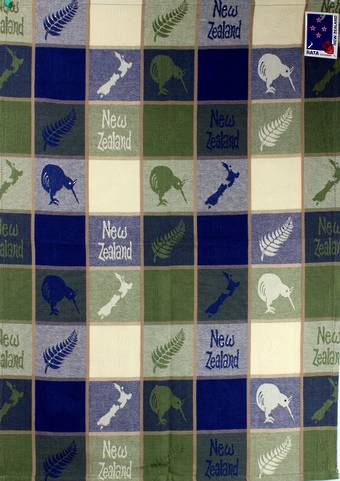 """Fern & Kiwi"" tea towel blue/green. Code: S770MK/BG"