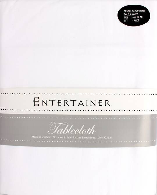 """Entertainer"" tablecloth 140x180cm White. Code: T/C-ENT/180/WHI. (NEXT DELIVERY MARCH 2021)"