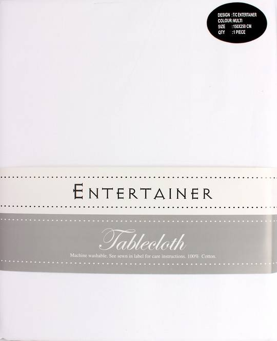 """Entertainer"" tablecloth 150x250cm White. Code: T/C-ENT/250/WHI. (NEXT DELIVERY MARCH 2021)"