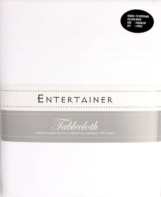 """Entertainer"" tablecloth 150x300cm White. Code: T/C-ENT/300/WHI. (NEXT DELIVERY MARCH 2021)"
