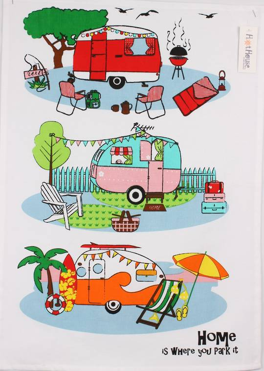 Retro Caravans tea towel Code: T/T-RET. (NEXT DELIVERY SEPTEMBER 2021)