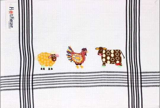 """Barnyard"" embroidered tea towel. CODE: T/T-BAR. (NEXT DELIVERY MARCH 2021)"