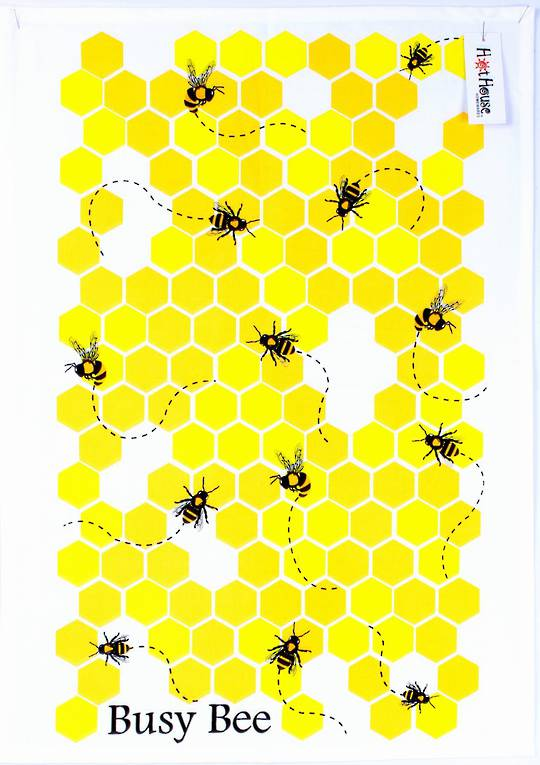 Busy bee tea towels CODE: T/T-BUS/BEE. (NEXT DELIVERY FEBRUARY 2021)