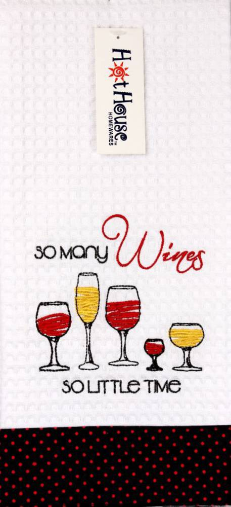 "Novelty ""So many wines,so little time"" tea towel Code: T/T-GF/WIN/MAN. (NEXT DELIVERY MAY 2021)"