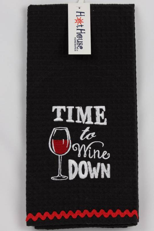 "Novelty 'Time to wine down"" tea towel Code:T/T-GF/WIN/DOWN. (NEXT DELIVERY APRIL 2021)"