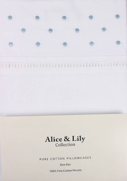 Alice & Lily pure cotton pillowcases one pair BLUE DOT Code: EPC-DOT/BLUE