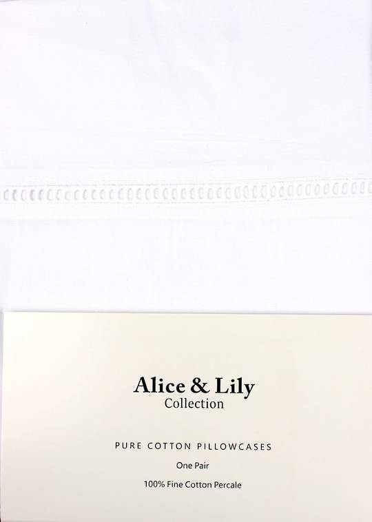 Alice & Lily pure cotton pillowcases one pair Code: EPC-HEM/WHT