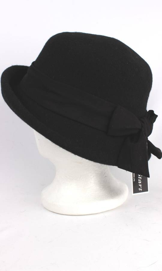 Headstart wool mix cloche w upturn front, band and bow black/black Style : HS/1413