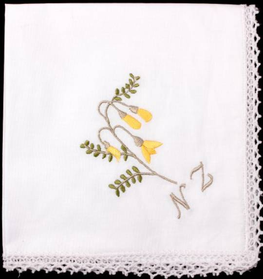 Embroidered lace handkerchiefs 'KOWHAI' Style: EHC/KOW