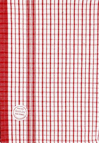 """Quick Dry""commercial quality dobby tea towel large size 59x88cm red. CODE: T/T-QUI/RED."