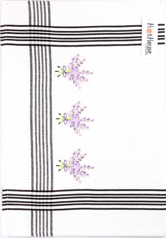 """Lavender"" embroidered tea towel. CODE: T/T-LAV. (NEXT DELIVERY MARCH 2021)"