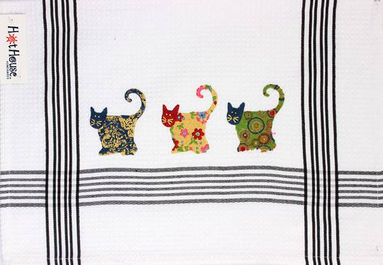 """Patchwork Cats"" embroidered tea towel: CODE: T/T-PAT. (NEXT DELIVERY APRIL 2021)"