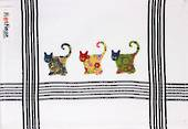 """Patchwork Cats"" embroidered tea towel: CODE: T/T-PAT. (NEXT DELIVERY MARCH 2021)"