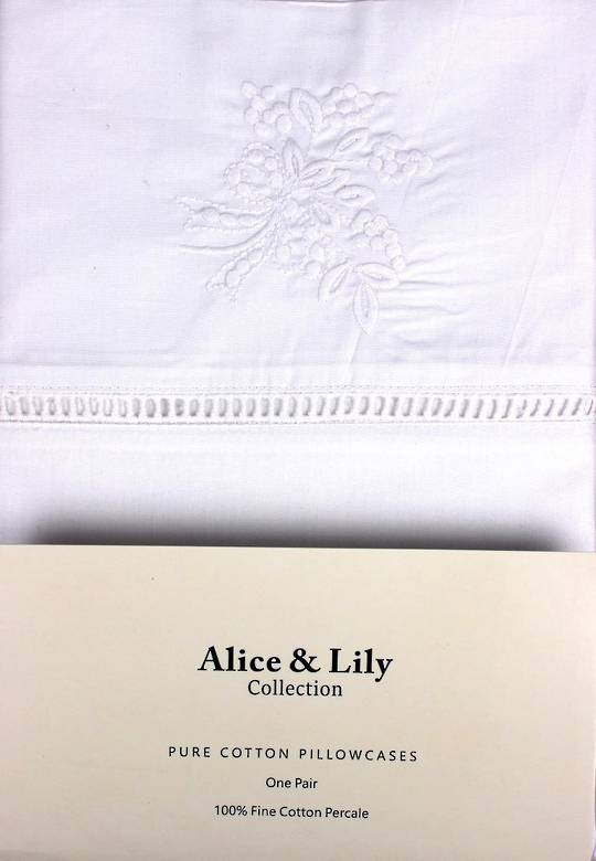 Alice & Lily pure cotton pillowcases one pair VIENNA WHITE Code: EPC-VIE/WH. (NEXT DELIVERY MAY 2021)