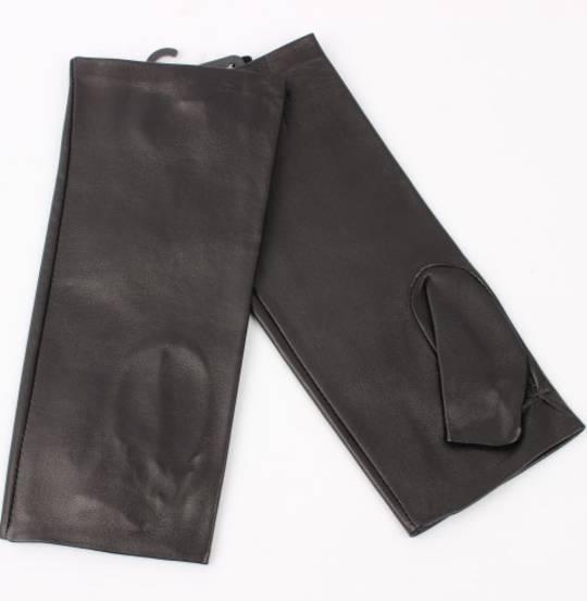 Ladies fingerless leather gloves black S/LL1604