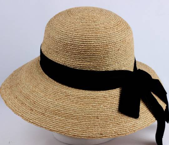 Finely woven handmade raffia dome hat w  bow comfort inside band natural Style: HS/9005