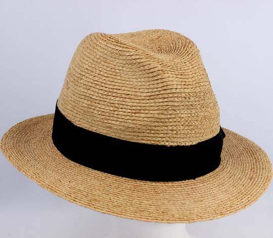 Handmade raffia braid trilby w leather inside band STYLE; HS/9003