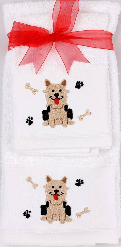 Matching Embroidered Handtowel and facecloth gift set-dog Code: FH-DOG
