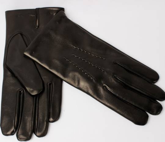 Mens Italian leather wool lined gloves black Style:S/ML2847W