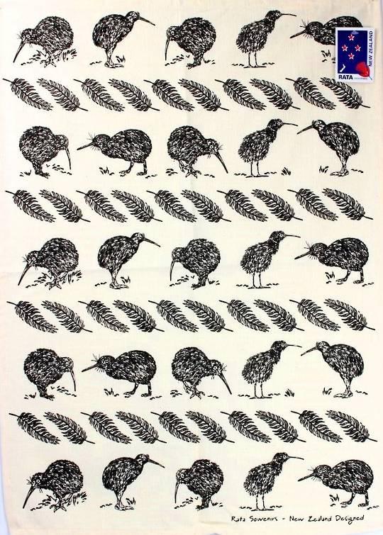 Tea towel NZ kiwi natural Code: S705 NZ KIWI