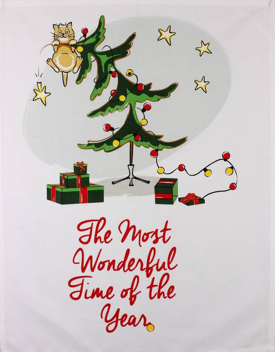 Tea towel Christmas 'The most wonderful time of the year' Code: TT-CH/WON October delivery