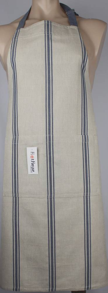 Marseille linen union apron blue Code: APR-MAR/BLU