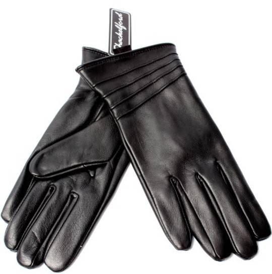 Ladies leather glove with piping black Style:S/LL3293