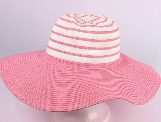 Wide brim 2 tone braid hat pink/white Style: HS/1662