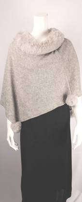 Alice & Lily knit poncho with pompoms beige,black,grey and grey marle Style SC/4586