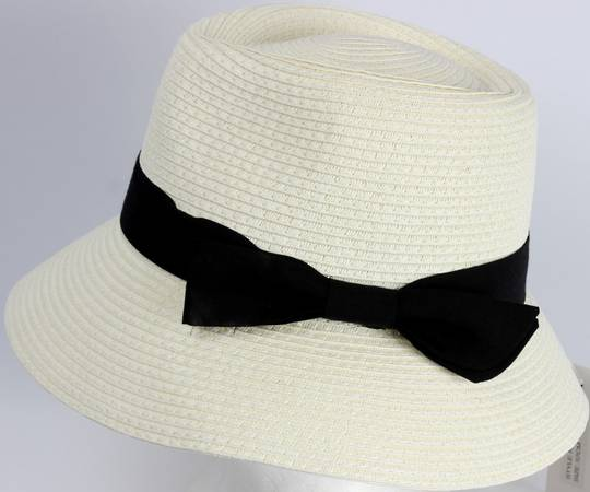 HEAD START Fedora shaped crown black band and bow downturn ivory Style: HS/1418/IVORY