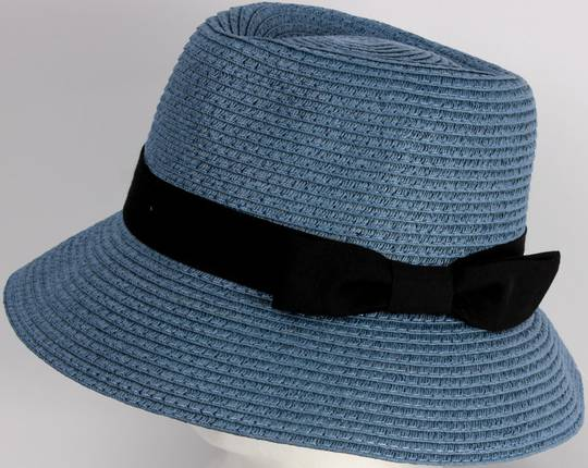 HEAD START Fedora shaped crown black band and bow downturn blue Style: HS/1418/BLUE