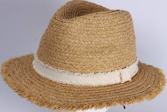 HEAD START Raffia trilby with white band and frayed brim edge Style: HS/1421/NAT